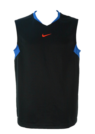 Nike Black Basketball Vest with Large Graphic Design on Back - L/XL