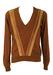 Brown V Neck Jumper with Striped Suede Pattern - M/L