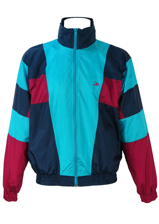Turquoise, Navy and Fuchsia Shell Track Jacket - M/L