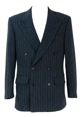 Blue Double Breasted Chalk Stripe Jacket - M