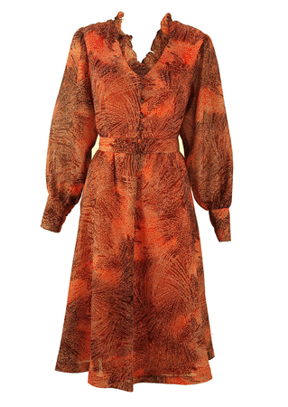 70's Chiffon Dress with Brown and Orange Abstract Print - M