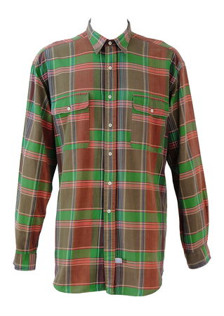 Polo by Ralph Lauren Pink, Green & Brown Check Shirt - XL/XXL