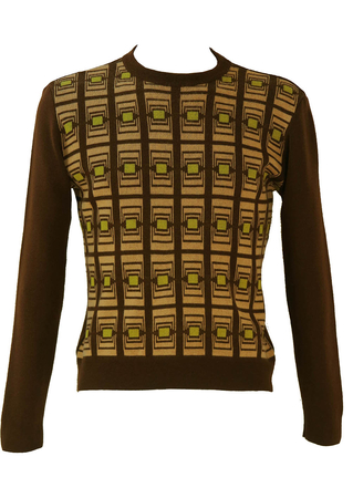 Brown Wool Jumper with Lime Green & Beige Geometric Pattern - M