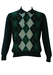 Navy Jumper with Green, Blue & Yellow Argyle Pattern - M