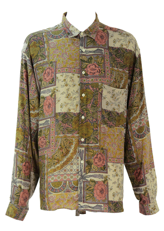 Shirt with Floral Pattern in Green, Pink and Grey - XXL/XXXL