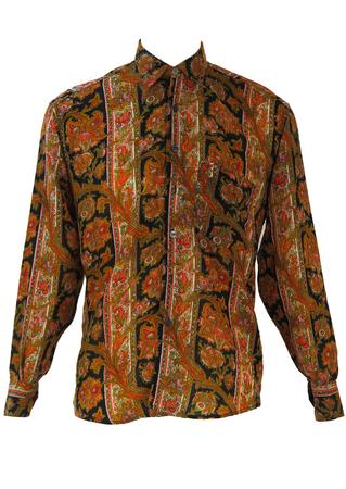 Fine Wool Multi Colour Paisley & Floral Print Shirt - L
