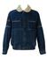 Blue Fleece Lined Sherpa Denim Bomber Jacket - M/L