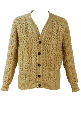 Chunky Cream Cable Knit Cardigan - L