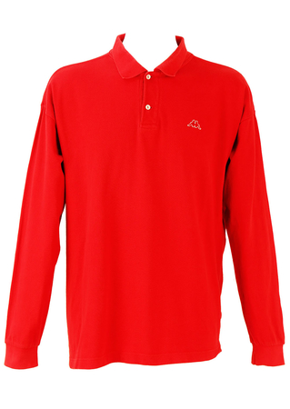 Kappa Long Sleeved Polo Shirt in Red - XXXL