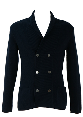 Navy Double Breasted Wool Cardigan - S