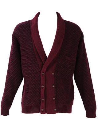 Double Breasted Burgundy & Black Cardigan - L