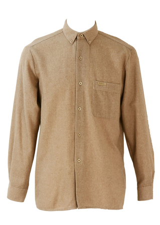 70% Wool Beige Button Down Collar Shirt - L