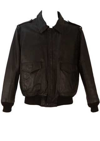 Brown Leather Flight Bomber Jacket - M/L