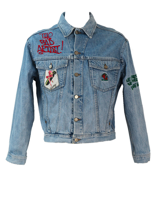 Bowery Graffiti Style Blue Denim Jacket - M/L