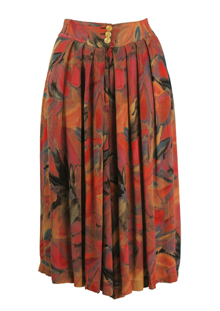 80's Midi Culottes with Abstract Floral Print - M