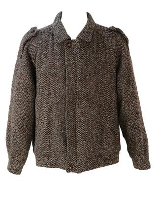Red & Grey Wool Tweed Bomber Jacket - XL/XXL