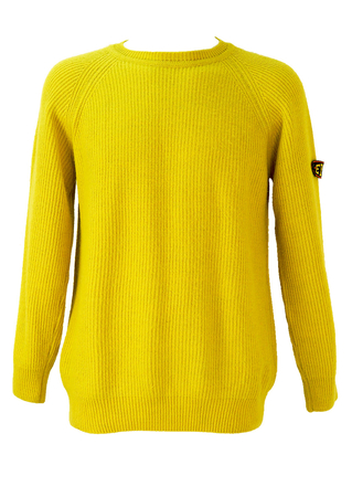 Bright Yellow Round Neck Jumper - L