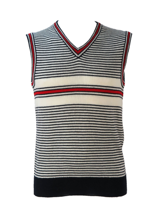 V-Neck Striped Tank Top in Navy, Red and White - S/M