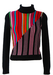 Black Jumper with Multi Colour Striped Pattern - XS/S