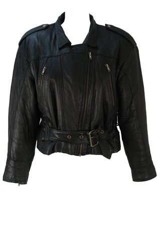 Vintage 1980's Black Cropped Leather Jacket - M/L