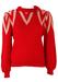 Red Jumper with White Neckline Pattern - M
