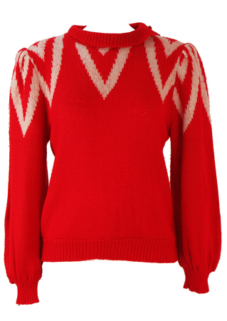 Red Jumper with White Neckline Pattern - M