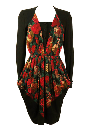 Mariella Burani Floral and Black Tulip Dress - M