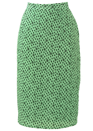 Mint Green Pencil Skirt with Black Circular Pattern - M