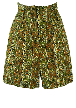 Culottes with Green Toned Aztec & Floral Print - S/M