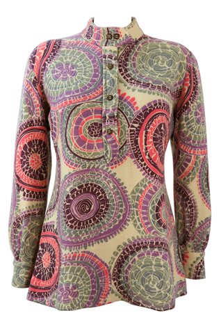 Vintage 1960's Tunic Jumper with Psychedelic Print - M/L