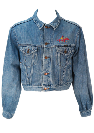 Cropped Blue Denim Wrangler Jacket with Embroidery Detail - L