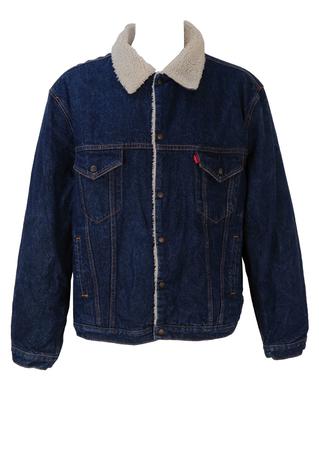 Levis Fleece Lined Dark Blue Denim Sherpa Jacket - XXL