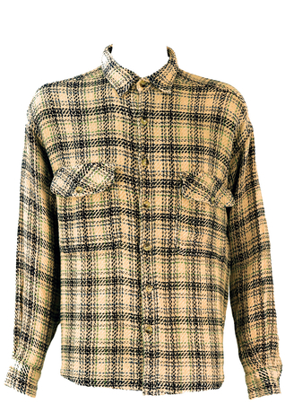 Cream Woven Shirt with Blue & Green Check -