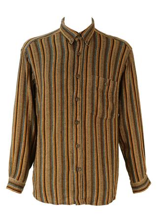 Ochre, Blue & White Striped Shirt - M/L