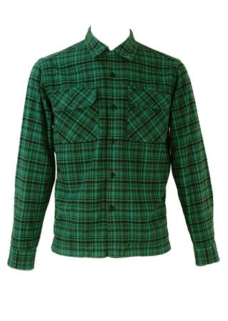 Stussy Blue & Black Check Flannel Shirt - S/M