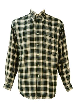 Blue, Green and Cream Tartan Check Shirt - L/XL