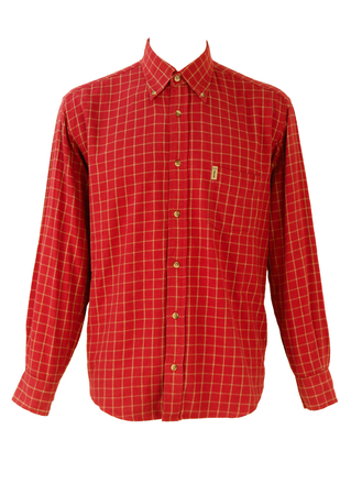 Sergio Tacchini Red & Camel Check Flannel Shirt - L/XL