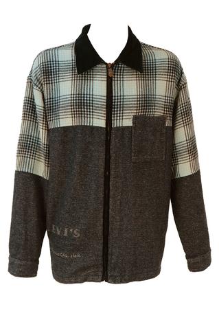 Levis Blue Check Shirt Jacket with Corduroy Collar - XL/XXL