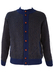 Blue Cardigan with Grey & Black Striped Pattern - M/L