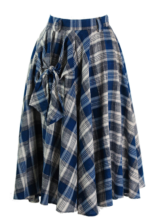 50's Style Blue & White Check Circle Skirt with Pocket Detail - S