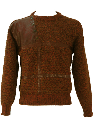 Brown and Green Mottled Knit Jumper with Leather Detail - M