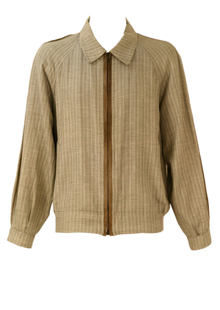 Grey & Tan Striped Linen & Cotton Bomber Jacket with Suede - M/L
