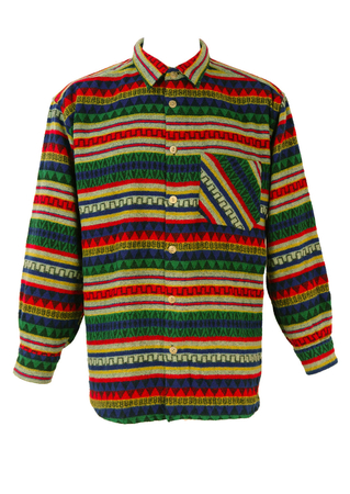 Aztec Patterned Flannel Shirt in Blue, Red, Yellow & Green - XL