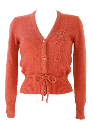 Pink Knit Cardigan with Floral Embroidery Detail - XS/S