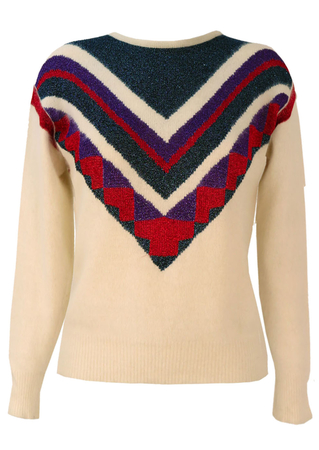 Cream Jumper with Red, Purple & Blue Metallic Pattern - S/M