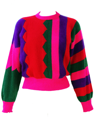 Vintage 1980's Multicoloured Striped Batwing Jumper - S