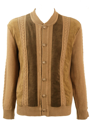 Brown Cardigan with Cable Knit Pattern & Faux Suede Panels - M/L