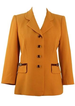 Soft Orange Jacket with Snakeskin Trim & Heraldic Lining - M