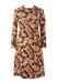 60's Abstract Print Multi Colour Long Sleeve Shift Dress - M