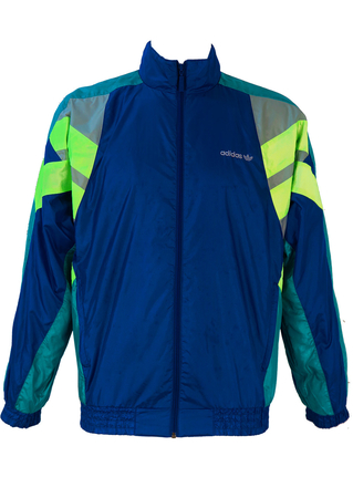 Adidas Track Jacket in Blue, Acid Green & Grey - M